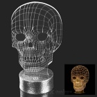 FineSource 3D Skull Pattern Warm White LED Atmosphere Lamp Light - Silver + Black + Transparent
