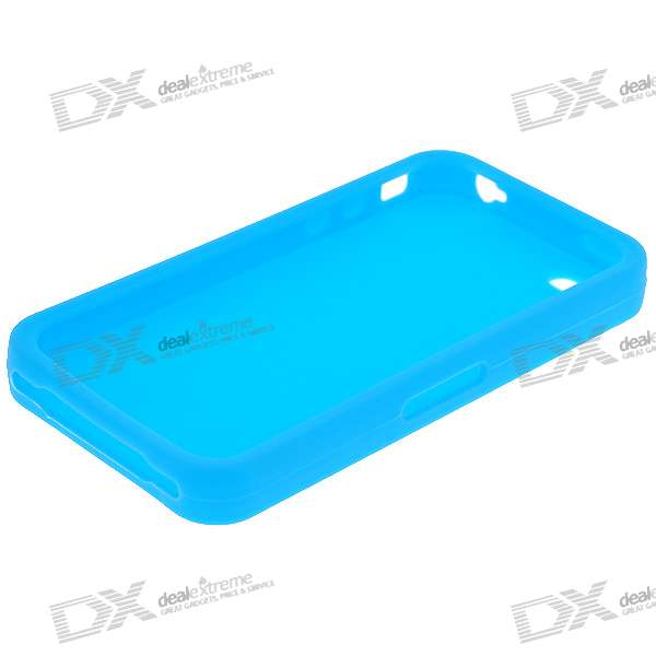 Protective Silicone Case for Iphone 4 - Light Blue protective back case for iphone 4 4s red