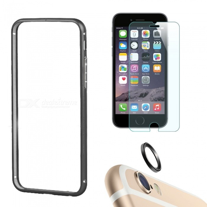 Bumper Frame Case + Film + Lens Guard Ring for IPHONE 6 Plus - BlackMetal Cases<br>Form  ColorBlackModelIP6PLUS-3IN1Quantity1 DX.PCM.Model.AttributeModel.UnitMaterialAluminum, tempered glassCompatible ModelsIPHONE 6 PLUSStyleBumper CasesPacking List1 x Bumper frame case1 x Tempered glass protector1 x Lens guard ring<br>