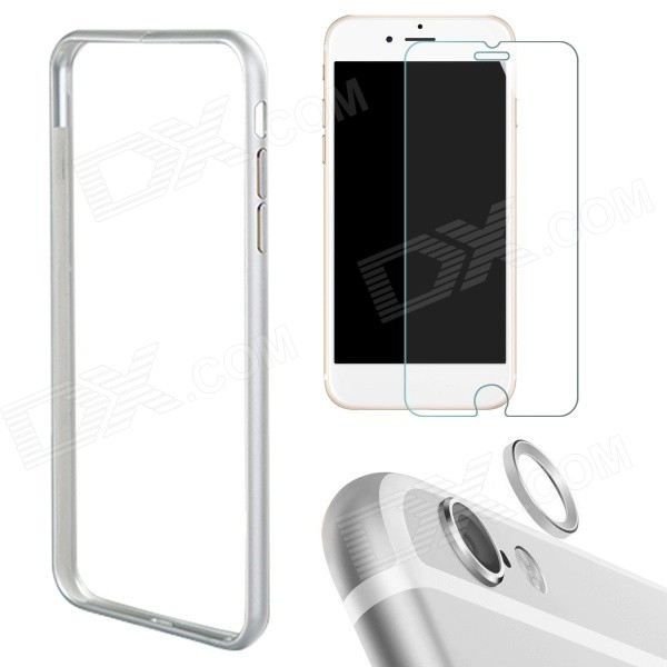 Bumper Frame Case + Film + Lens Guard Ring for IPHONE 6 Plus - SilverMetal Cases<br>Form  ColorSilverModelIP6PLUS-3IN1Quantity1 DX.PCM.Model.AttributeModel.UnitMaterialAluminum, tempered glassCompatible ModelsIPHONE 6 PLUSStyleBumper CasesPacking List1 x Bumper frame case1 x Tempered glass protector1 x Lens guard ring<br>