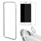 Aluminum Bumper Frame Case + Tempered Glass Protector + Lens Guard Ring for IPHONE 6 Plus - Silver