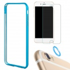 Aluminum Bumper Frame Case + Tempered Glass Protector + Lens Guard Ring for IPHONE 6 Plus - Blue