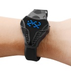 MAIKOU TPU Band Blue LED Digital Watch - Black + Blue (1*CR2016)