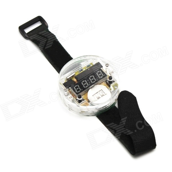 DIY 4 dígitos display de  conjunto e segmentos Digital Watch Kit w / Banda Velcro