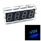 DIY 4-stelligen Sieben-Segment-Anzeige Digital Light Control Desk Clock Kit (blaues Licht)