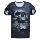 Men's Horrible Skull Pattern 3D Printing Short Sleeves Cotton T-shirt - Black + Multi-Color (Size L)