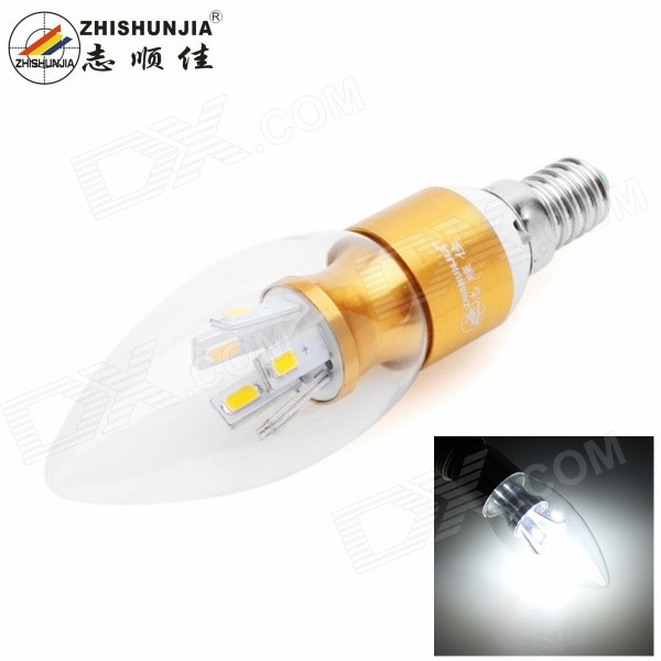 ZHISHUNJIA ZSJ5W-G E14 5W LED Candle Lamp Cold White 350lm (85~265V)