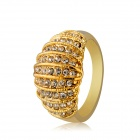Women's Fashionable Alloy + Rhinestone Inlaid Ring - Golden (US Size: 8)