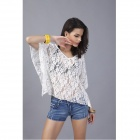 Sexy Women's Batwing Lace Long Sleeve Loose Blouse - White (Free Size)