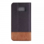 PU + PC Flip-Open Case w/ Stand for Samsung Galaxy S6 - Black + Brown