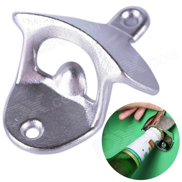 Wall Mounted Unique-design Metal Beer Bottle Opener - Silver