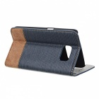 PU + PC Flip Open Case w/ Stand for Samsung Galaxy S6 - Blue + Brown