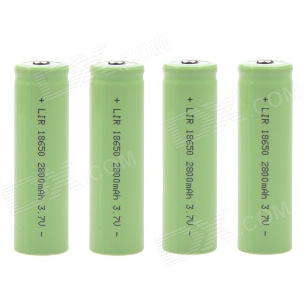 "2800mAh"" 3.7V 18650 Rechargeable Lithium Ion Battery - Green (4PCS)"