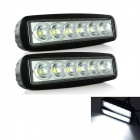 exLED Wired 18W LED Car Work Light White 6500K 1800lm Waterproof - Black (DC 10~30V / 2PCS)