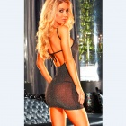 Sexy Lace Transparent Sleepwear Dress Lingerie w/ G-String - Black