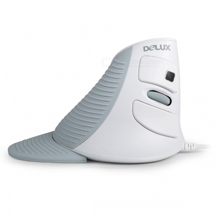 DELUX M618 Wired USB 1600dpi LED Optical Vertical Mouse - White + Grey