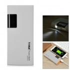 "S-What Dual USB 3.7V ""13000mAh"" Li-ion Battery Power Bank w/ 1"" LCD / Flashlight - Grey + Orange"