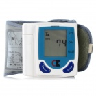 "Auto 1.875"" LCD Blood Pressure Measuring Electronic Sphygmomanometer - White + Blue (2 x AAA)"