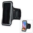 Mini Smile Nylon + PVC Sports Armband Case w/ Earphone Hole for Samsung Galaxy S6 G9200 - Black