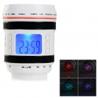 "SLR Lens Style 2.2"" LCD Desk Clock w/ Temperature Display / Alarm / Projection Light - White + Red"