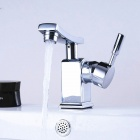Fashionable Chrome Finish Brass Single Handle Bathroom Sink Faucet - Silver