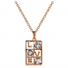 Women's Love Declaration Style Crystal Inlaid Pendant Necklace - Rose Gold