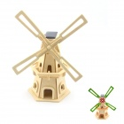 Robotime W110 Large Windmill DIY Colored Drawing Solar Powered Assembly Toy - Wood Color