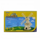 Robotime W110 Large Windmill Solar Powered Assembly Toy - Wood Color