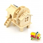 Robotime W150 Water Wheel House DIY Colored Drawing Solar Powered Assembly Toy - Wood Color