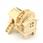Robotime W150 Water Wheel House Solar Power Assembly Toy - Wood Color