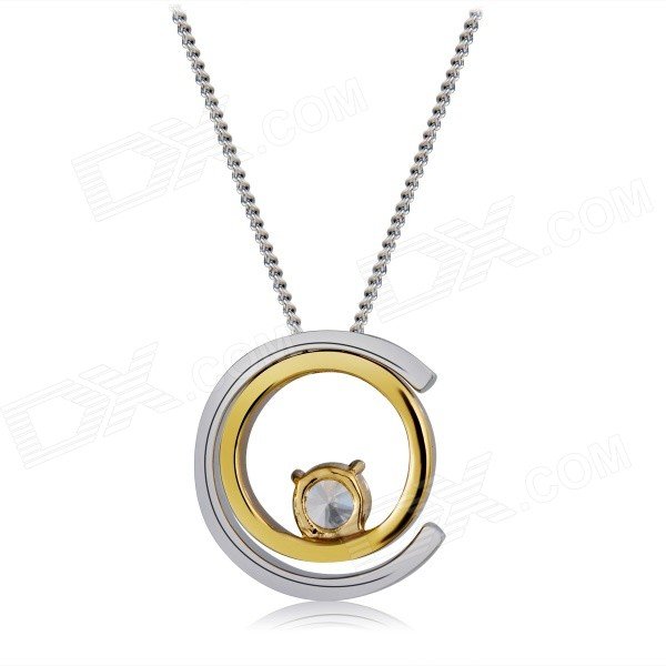 Xinguang Double Moon Shaped Zircon Inlaid Pendant Necklace - Silver