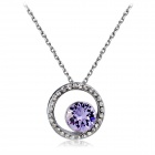 Women's Charming Eye Style Crystal Inlaid Alloy Pendant Necklace - Silver