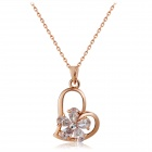 Women's Elegant Plum Blossom & Heart Style Zircon Inlaid Alloy Pendant Necklace - Rose Gold