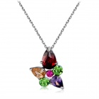 Women's Fashionable Colorful Zircon Inlaid Alloy Pendant Necklace - Silver