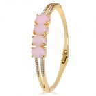 Xinguang Stylish Double-layer Pink Egg Shaped Crystals Inlaid Bracelet - Golden