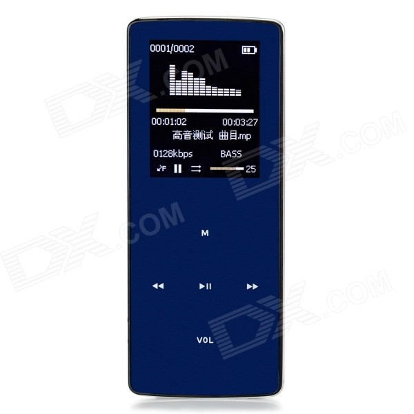 "ONN W6 Ultra Slim 1,8"" TFT tela esportivo MP3 Player w / FM / relógio / BT / TF - azul profundo (8 GB)"
