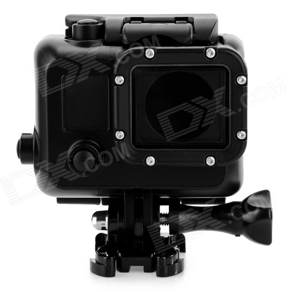 Protective Waterproof Case for GoPro Hero 4/3+/3 - BlackBags &amp; Cases<br>Form  ColorBlackQuantity1 DX.PCM.Model.AttributeModel.UnitMaterialABS + acrylic + glassShade Of ColorBlackCompatible ModelsGoPro Hero 3,GoPro Hero 3+,GoPro Hero 4Water ResistantWater Resistant 3 ATM or 30 m. Suitable for everyday use. Splash/rain resistant. Not suitable for showering, bathing, swimming, snorkelling, water related work and fishing.Anti-ShockYesSizeOthers,N/ADimension8 x 8 x 3.8 DX.PCM.Model.AttributeModel.UnitInner Dimension7 x 5.5 x 3cmPacking List1 x Waterproof case 1 x Long screw1 x Base<br>