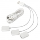1-to-3 USB 2.0 3-Port Hub + Micro 5pin Charging / Data Cable for IPHONE / Samsung + More - White