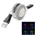 Micro USB to USB 2.0 Retractable Colorful Lighting Charging Cable for Samsung + More - Black (90cm)