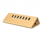 MAIWO KH107 Triangular Super Speed 5Gbps USB 3.0 7-Port Hub w/ AC Power Charger - Gold (US Plug)