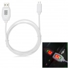 "Smart Micro USB / USB 2.0 Data Charging Cable w/ 0.5"" LCD - White (100cm)"