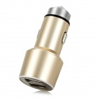 3.1A Dual-Port USB Aluminum Alloy Car Cigarette Charger for Cellphone / Tablet - Champagne Gold