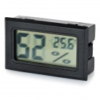 "1.5"" LCD Temperature Humidity Meter Thermometers Hygrometer - Black"