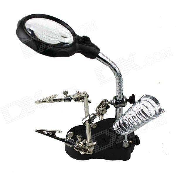 Desk Auxiliary Clip Bracket 12X Magnifier w/ 2-LED (3*AAA)