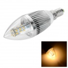 E14 6W LED Bulb Lamp Warm White Light 2700K 450lm 28-SMD 2835 - White + Silver (AC 85~265V)