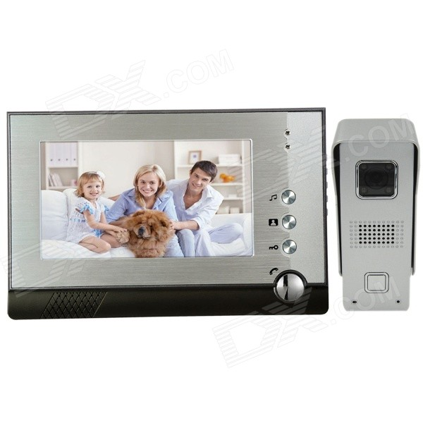 "Angibabe 7"" TFT Color Video Door Phone System w/ Rainproof Cover / Night Vision Camera - Silver"