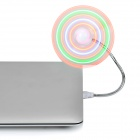 USB 2.0 2-Blade LED ventilador flexible con 4 colores de luz - Blanco + Plata