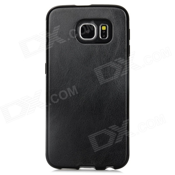 Protective PU Leather Back Case Cover for Samsung Galaxy S6 - Black