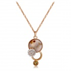 Xinguang Women's Gourd Shaped Freshwater Shells Crystals Inlaid Pendant Necklace - Rose Gold