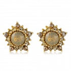 Xinguang Women's Crystals Inlaid Pentagon Shaped Earstuds Earrings - Golden (Pair)